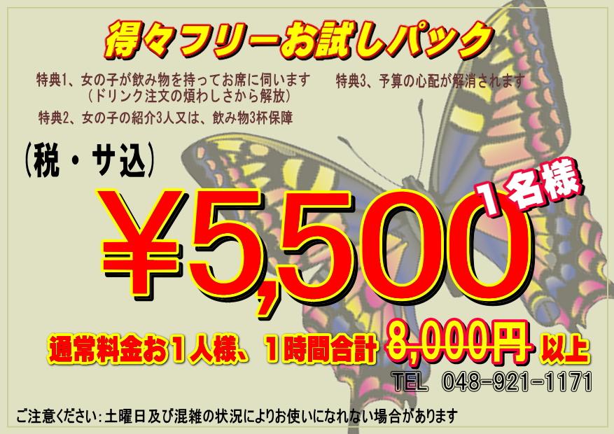 得々フリーお試しパック 1名様5,500円(税・サ込)